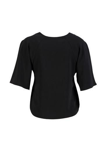 Setre Siyah V Yaka Volan Kol Bluz Siyah